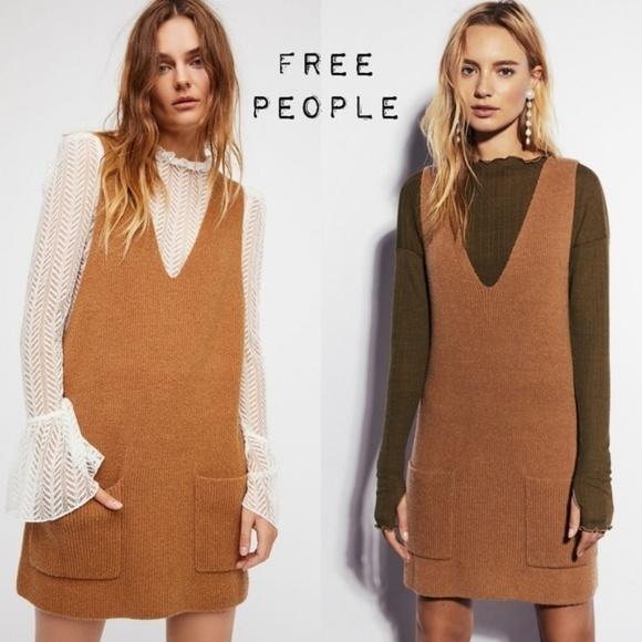 9479890af5ad Free People Dresses   Skirts - Free People Nikki Mini Tank Sweater Dress in  Camel